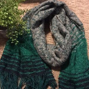 Gray and Green Scarf